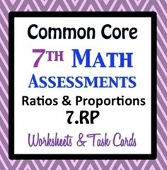 Your Choice!!! Formal Assessment, Worksheets, Task Cards.    Questions are aligned precisely to the common core math standard. Each page contains at least 4 questions for each of the 3 common core math standards in THREE different formats.    7.RP Ratios and Proportional Relationships