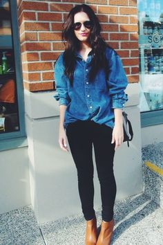 Chambray shirt, black jeans, tan ankle boots