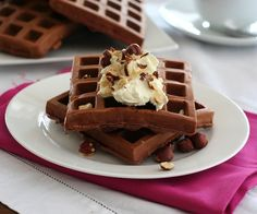 Low Carb Chocolate Hazelnut Protein Waffle Recipe | All Day I Dream About Food