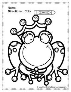 #FREE Frog Prince Coloring Page in the Free Download Preview! ** 50% Off for the First Two Days! ** Fairy Tale Fun! Color For Fun Printable Coloring Pages {42 coloring pages equals less than 10 cents a page.} #TPT $Paid #frogprince #FairyTale #Freebie #FernSmithsClassroomIdeas