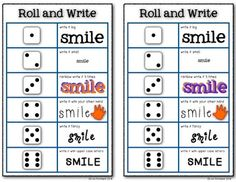 ROLL AND WRITE A GAME TO PRACTICE SPELLING FREEBIE - TeachersPayTeachers.com