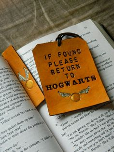 Leather Luggage Tag & Bookmark set - Harry Potter Gift Set - Please Return to Hogwarts - Golden Snitch Detail - J K Rowling - HP Book Mark from CostalMaineCreation on Etsy
