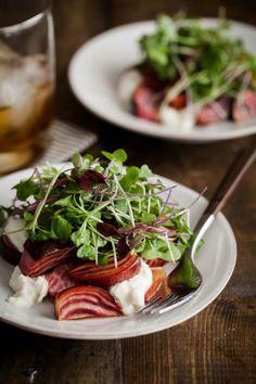 Naturally Ella | Roasted Beets and Burrata with Micro Greens