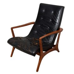 Sculptural, Solid Walnut abd Leather Lounge Chair  USA  1950's  Sculptural, solid walnut lounge chair, made by a protege of Vladimir Kagan-1950's