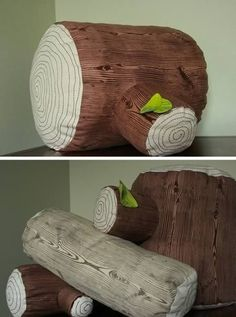 """Complete your indoor woodland theme with this awesome-looking, realistically accented Tree Stump Floor Pillow from Etsy seller bebemoon. At 14"""" tall by 12"""" wide, it offers plenty of room for kicking back during storytime, or if you've got an upright sleeper in the house, the pillow looks perfect for sawing logs."""