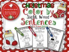 Christmas Color by Sight Word Sentences (Pre-Primer)