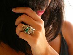 Silver Dragon Ring  Emerald Swarovski Gothic Ring by LeBoudoirNoir, $100.00