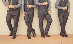 Love this groomsmen shot......... Even with flasks or cigars