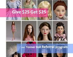 #dollchat ^kv Get a $25 credit for every new friend you introduce to TonnerDoll.com who makes a purchase of $50 or more  – They'll get $25 off their order, too!