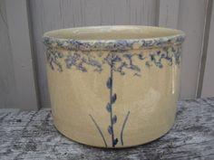 Vintage Roseville:Blue spongeware crock