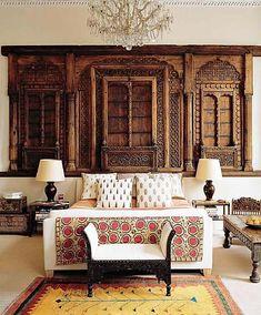 interior design, boho chic, headboard, elle decor, moroccan interiors