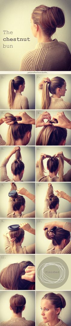 Hair/Tutorial The chestnut bun is a classic hairdo which is good if you want a more neat looking style. It´s nice to wear to a dinner out or a more dressed up party.
