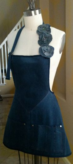 Hand made - Revamped to Recycled   Denim Apron