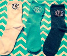 Personalized Monogrammed Socks Crew Length by VolunteerMonograms, $7.00