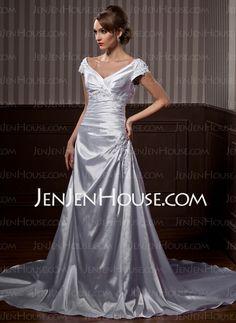 Wedding Dresses - $186.59 - A-Line/Princess V-neck Chapel Train Satin Wedding Dresses With Ruffle Lace Beadwork (002011663) http://jenjenhouse.com/A-Line-Princess-V-Neck-Chapel-Train-Satin-Wedding-Dresses-With-Ruffle-Lace-Beadwork-002011663-g11663