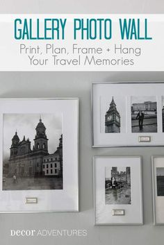 See how to print, frame, plan and hang photos for a gallery wall with bookplate labels at Decor Adventures.