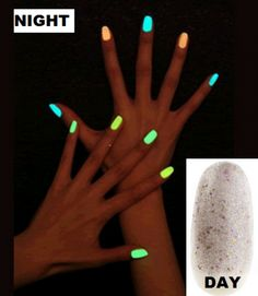 Glitter Glow in the Dark Nail - or DIY by breaking a glow stick and putting it in clear polish