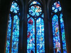 Chagall stained glass windows Reims Cathedral by keith Lewis