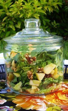 use glass jars to serve food: salad, potato salad, fried chicken, lemon bars, muffins