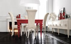 Stylish and Very Fashionable Dining Room Set Altamoda Home : Chic And Very Elegant Dining Room Set Altamoda Home With White Wall Chandelier And Red Dining Table And White Bar Stool And Table With Big Window And Hardwood Flooring