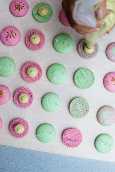 Baking up some colorful macarons / via Jennifer Chong #recipe
