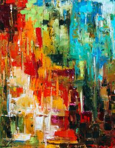 Abstract Painting ORIGINAL Art Abstract Art  Palette Knife Expressionistic Acrylic Painting on Canvas  by Elizabeth Chapman.