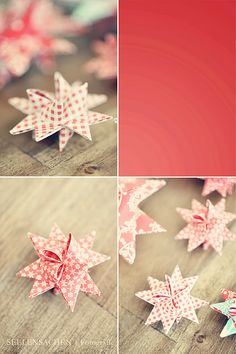 Froebel Star  -  called Fröbelstern in Germany. It is a popular decoration for Christmas trees made from four strips of folded paper.
