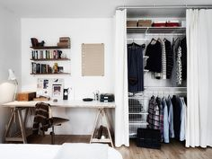 desk & faux closet in a space without a build in closet