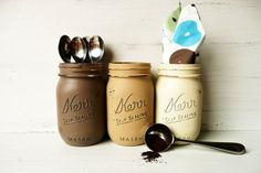Cafe  Coffee and Tea Canisters  Painted Mason Jars  by BeachBlues, $18.00