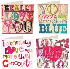 LOVE these Caroline Gardner Greeting Cards :) #Valentines #hearts #pink #graphics #type