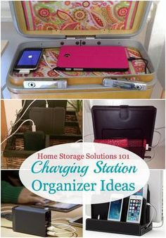 Lots of charging station organizer ideas for your home, to charge all kinds of electronic devices from phones, tablets, portable games, GPS devices and more, and hide those cords! {on Home Storage Solutions 101}
