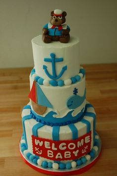 Nautical themed baby shower cake by Cake is the Best Part Bakery, Redding, CA Bennett's cake!