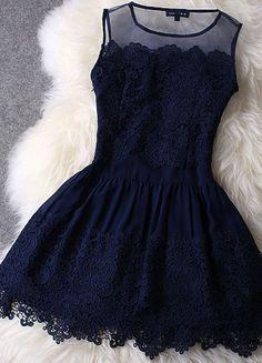 Navy Lace Chiffon Dress