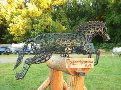 Life-Sized Horseshoe Horse Sculpture 'Just Jump' - by Bud Thomas, Oregon Horseshoe Art
