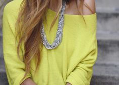 slouchy sweater & necklace