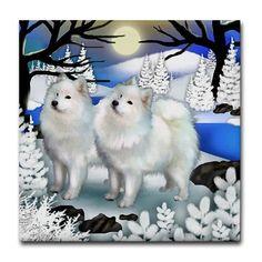 SAMOYED DOGS Frozen River Art Ceramic Tile by EvaDesignsArt, $15.00