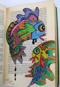 zentangle fishes colored with Inktense pencils