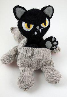 Good cat, bad cat... kitty cats, crochet toys, black cats, bad cat, bad kitti, cat crafts, gato bueno, knit patterns, kid