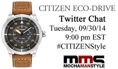 Citizen Watch Twitter Chat. Prizes during the chat include gift cards, T-shirts, and a watch.