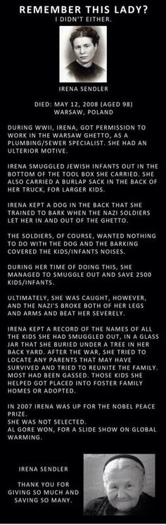 Irena Sendler. Polish social worker who saved 2500 Jewish children in Warsaw and was tortured by the Gestapo.