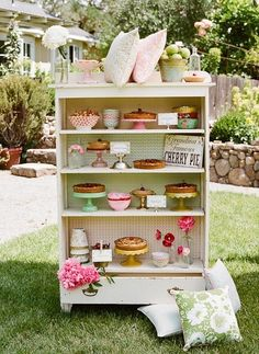 pie party, sweet tables, old dressers, food, summer parties, bake sale ideas, cake stands, cake display, vintage style