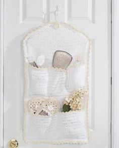 Crochet Pocket Hanging Storage cream free, crochet pockets, craft idea, catchal pattern, crochet free patterns, crochet project, sugar n cream crochet, crochet patterns, door catchal