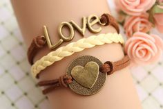 LOVE braceletretro bronze love letters with love by fabuloustime, $8.99