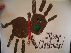 Hand print reindeer.