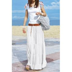 Bohemian Solid Color Loose Fit Long Style Pleated Boho Skirt For Women from Rose Wholesale