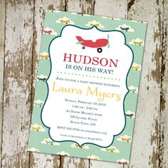 airplane baby boy shower invitation with by katiedidesigns on Etsy, $13.00