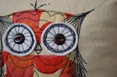 owl stitch pillow // Maureen Cracknell Handmade