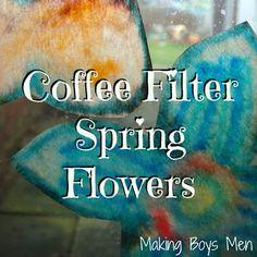Coffee filter spring flowers