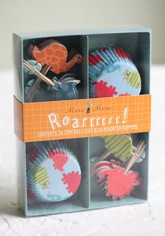 Dinosaur Cupcake Kit By Meri Meri 11.99 at shopruche.com. Perfect for a children's birthday party, these playful dinosaurs will add charm to your baking. The kit includes assorted dinosaur toppers and matching liners.24 cupcake cases, 24 cupcake toppers
