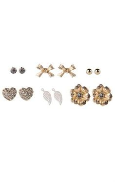 Deb Shops Set of 6 Stud Earrings with Flowers Leaf and Heart $8.00